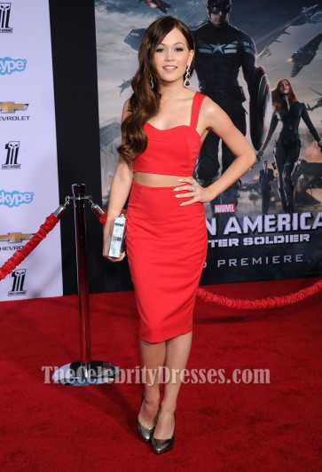 Kelli Berglund Red Party Dress Captain America The Winter Soldier premiere