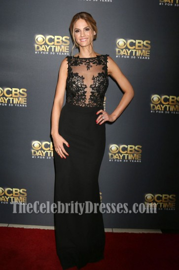 Kelly Kruger Black Bateau Lace Evening Dress 44th Annual Daytime Emmy Awards