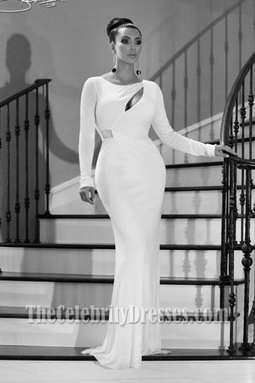 Kim Kardashian White Evening Dress Kardashian family Christmas card Gown