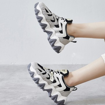 Lace-up Front Mesh Panel Chunky Sneakers