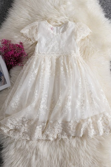 Lace Decor Flower Girl Dress