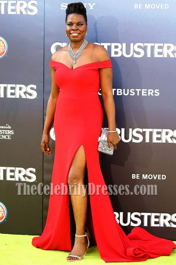 Leslie Jones Red Off-the-shoulder High Slit Evening Dress Ghostbusters Premiere 2016 2