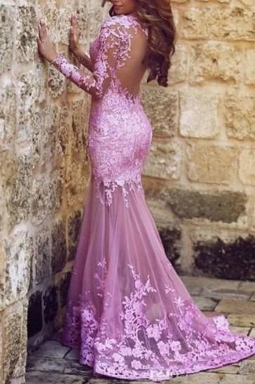 Sexy rosa lange Ärmel Meerjungfrau Backless Abendkleid formale Kleider