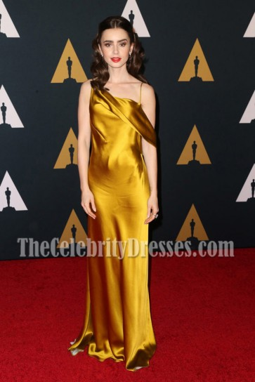 Lily Collins Gold Asymmetrical Spaghetti Strap Evening Gown 8th Annual Governors Awards 3