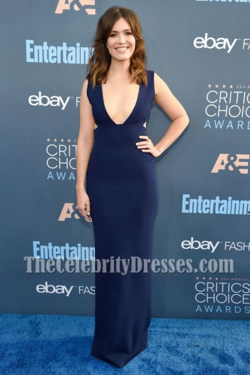 Mandy Moore Dark Navy Deep V-neck Prom Gown 2016 Critics' Choice Awards