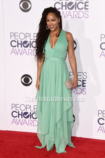 Meagan Good Mint V-neck Evening Dress 2016 People's Choice Awards 3