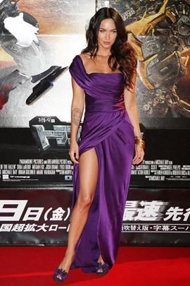 Celebrity Dresses Megan Fox Sexy Purple Evening Dress Premiere of Transformers 2 in Tokyo