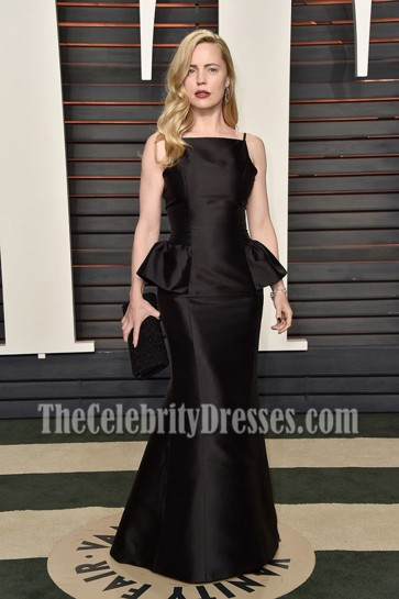 Melissa George Black Spaghetti Strap Formal Gown Vanity Fair Oscar After-party 2016 3