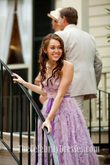 Miley Cyrus Purple Dress From The Last Song Strapless Prom Gown