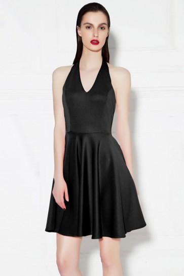 Short Mini Black Halter Party Homecoming Dress TCDMU0035