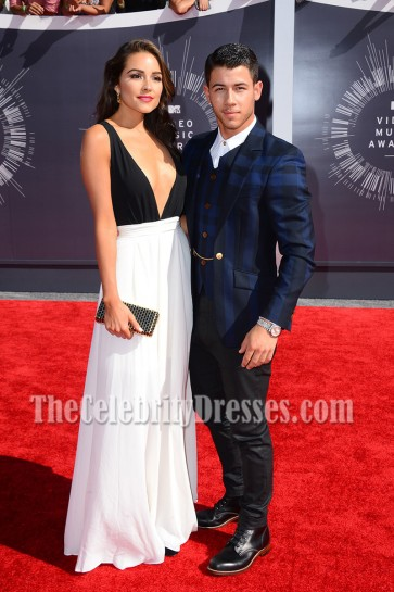 Olivia Culpo Black And White Deep V-neck Evening Prom Gown MTV Video Music Awards 2014 4