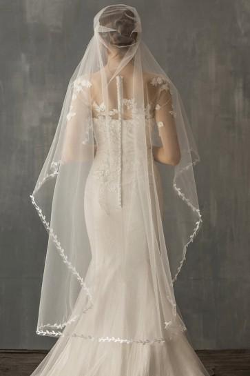 One-tier Applique Edge Waltz Bridal Veils, Wedding Veils