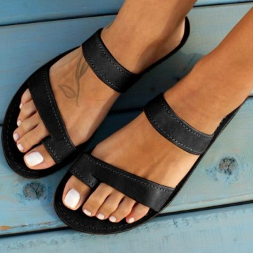 Open-toe Double Band Flat Sliders