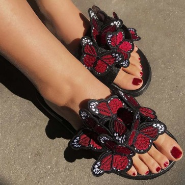Open-toe Embroidered Bow Decor Wide Fit Sliders