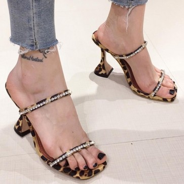 Open Toe Cap High Heel Sandals With Rhinestone Crystal For Women