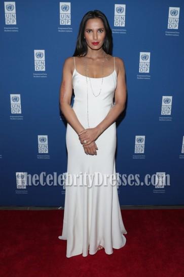 Padma Lakshmi White Slip Spaghetti Straps Evening Prom Gown UNDP Inaugural Global Goals Gala 3