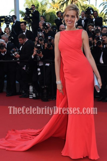Petra Nemcova Red Long Train Evening Dress 69th annual Cannes Film Festival 6
