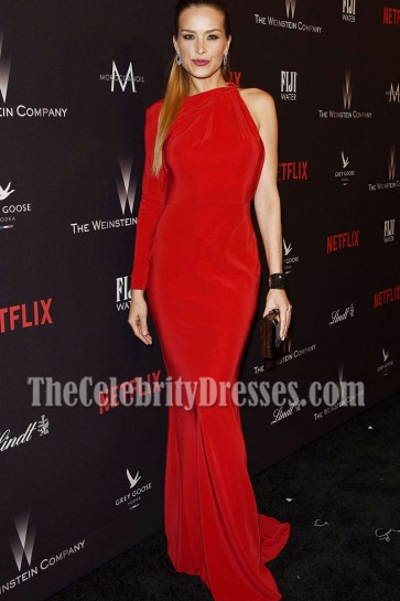 Petra Nemcova Red One-sleeve Evening Prom Dress Weinstein Company Golden Globes After-party 4
