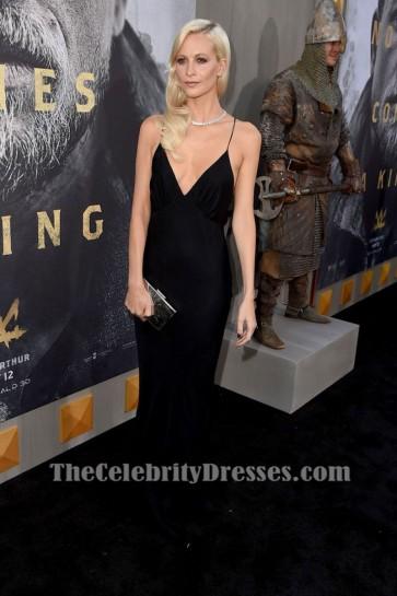 Poppy Delevingne Black Deep V-neck Spaghetti Straps Backless Slip Evening Dress Premiere Of King Arthur Legend Of The Sword