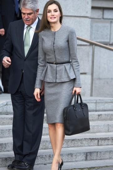 Queen Letizia of Spain Spanish Fashion Grey Suit