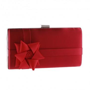 Red Handmade Flower Evening Bag For Sale