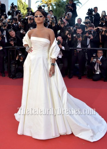 Rihanna 2017 Cannes Film Festival Okja Premiere Ivory Coat Formal Dress