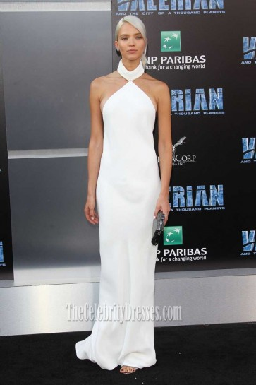 Sasha Luss White Halter Backless Prom Dress Valerian and the City of a Thousand Planets Premiere 2017