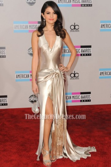 Selena Gomez & Justin Bieber 2011 American Music Awards Prom Dress Red Carpet