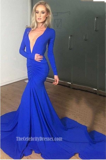 Sexy Low Cut Royal Blue Long Sleeve Evening Dress