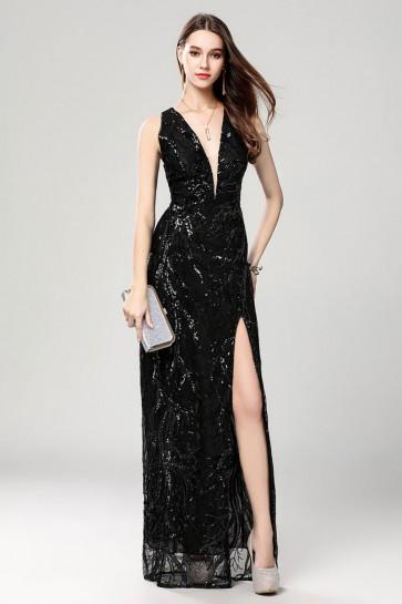Sexy Plunging Neckline Sparkly Black Evening Dresses