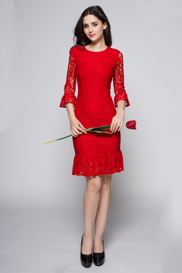 Short Red Lace Mermaid Cocktail Party Dresses