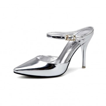 Silver Ankle Strap Pointed Toe Prom Shoes Sexy Summer Party Shoes