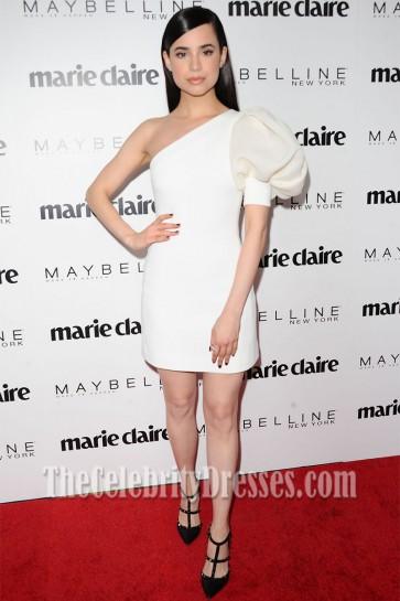 Sofia Carson White One-Shoulder Knee- Length Cocktail Dress Marie Claire's 'Fresh Faces' Celebration