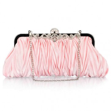 Women's Simple Evening Handbag Ruffle Rhinestone Mini Party Clutch Bag 3
