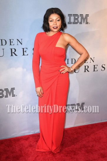Taraji P. Henson Red Asymmetric One-Sleeve Evening Dress Hidden Figures Screening 5