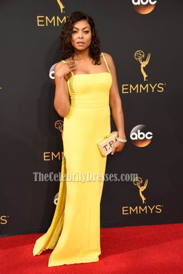 Taraji P Henson Yellow Spaghetti Straps High Slit Backless Evening Dress 68th Emmy Award 4