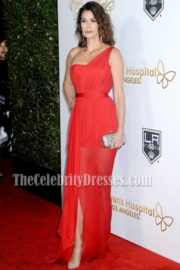 Teri Hatcher Red One-shoulder Red Carpet Evening Prom Gown Once Upon a Time Gala 2016 1