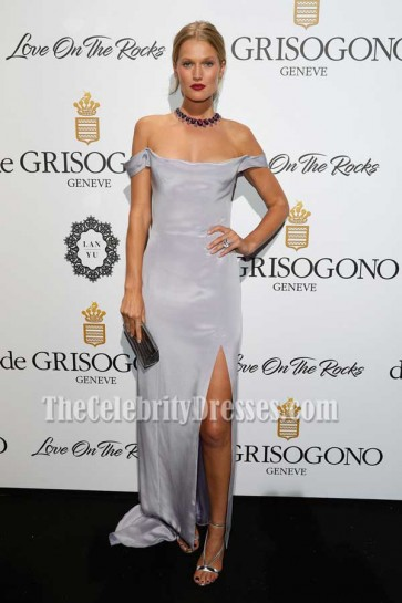 Toni Garrn Lilac Off-the-shoulder High Slit Gown DeGrisogono Love On The Rocks