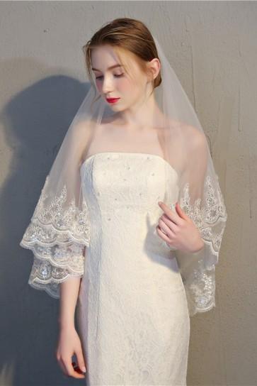 Two-tier Lace Applique Edge Elbow Bridal Veils