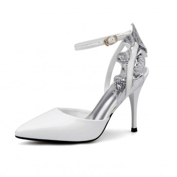 White  Sexy Flower Pointed Toe Sandals Stiletto Heels With Ankle Strap