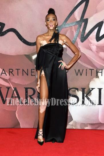 Winnie Harlow Black Strapless High Slit Evening Prom Gown Fashion Awards 2016 3