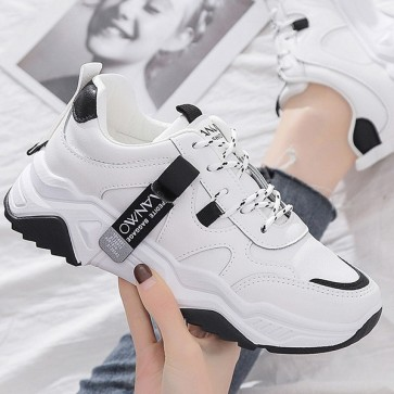 Women's Multicolor Lace-up Front Chunky Sole Sneakers