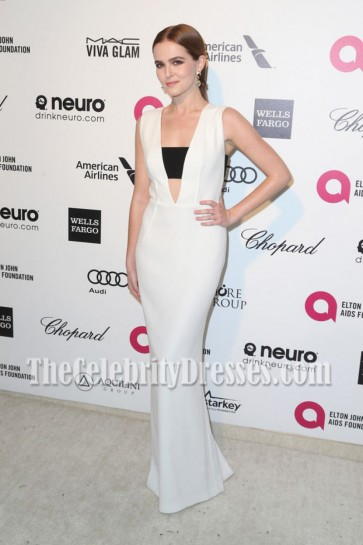 Zoey Deutch White And Black Deep V-neck Evening Prom Gown Elton John AIDS Foundation's 2015 Oscar
