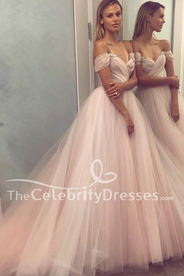 Elegant Pearl Pink Off-the-Shoulder Tulle Prom Gown Evening Prom ...