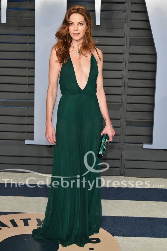 16499dd40789fc Michelle Monaghan Dunkelgrünes Abendkleid 2018 Vanity Fair Oscar ...