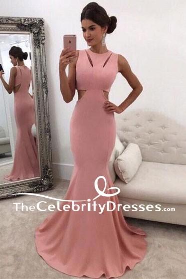 Lange Rosa Meerjungfrau Ausgeschnitten Armellose Abendkleid Abendkleider Thecelebritydresses