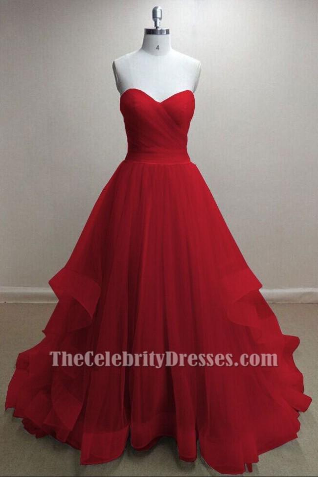 Wunderschöne rote Tüll Schatz trägerlosen Ballkleid Prom Kleider ...