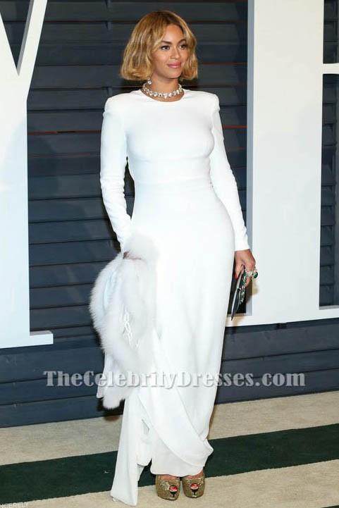 Beyonce Weiß Langes Hülsen-Abend-Kleid 2015 Oscar-Berühmtheits ...