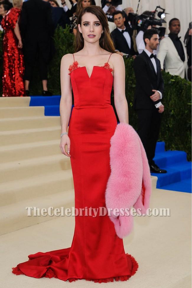 Emma Roberts Red Abendkleid 2017 MET Gala Rote Teppich Berühmtheit ...