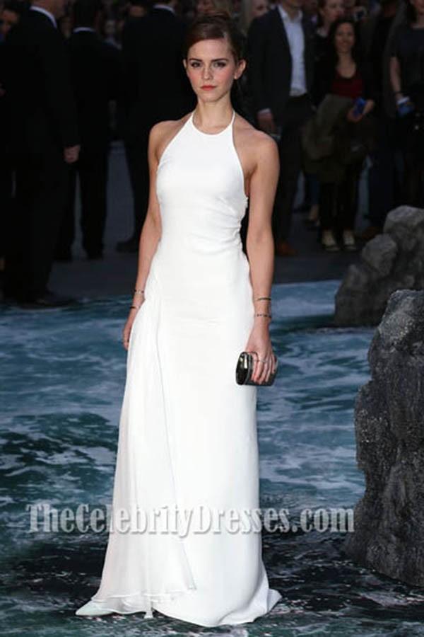 Emma Watson Weiß Halfter Abendkleid Noah premiere - TheCelebrityDresses